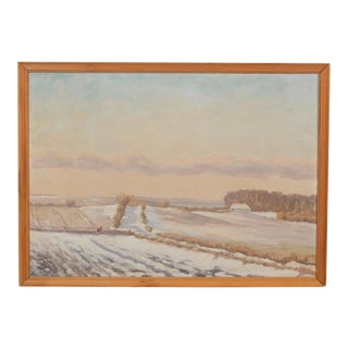 Snowy Danish Country at Sunset Landscape For Sale