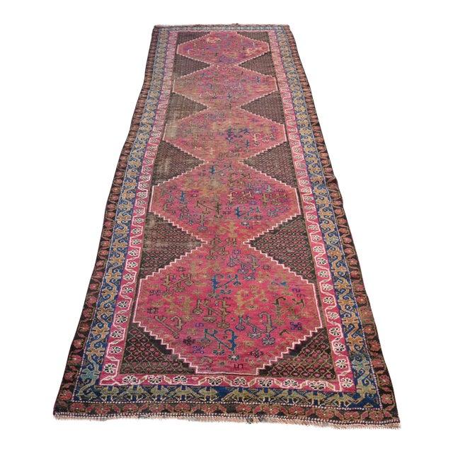 "Persian Antique Handmade Runner Rug -- 3'3"" x 10'5"" - Image 1 of 6"