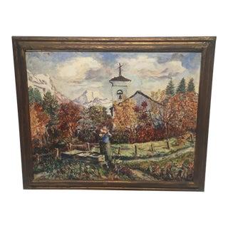 "Mid 20th Century ""Chapel - Fex Valley Switzerland"" by Joseph Meierhans"