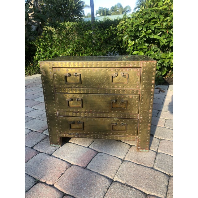 Mid-Century Modern Sarreid Brass Clad Three Drawer Chest of Drawers For Sale - Image 3 of 13