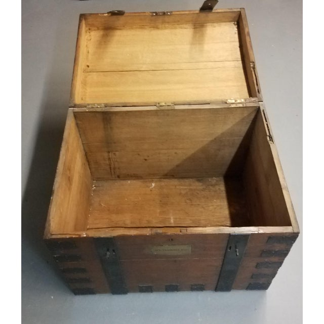 A large late 1800s oak trunk for storing silverware and valuables. Manufactured by Payne & Co. Goldsmiths to the Queen,...