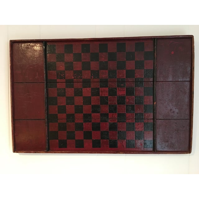 Antique Wooden Red & Black Checkerboard For Sale - Image 4 of 4