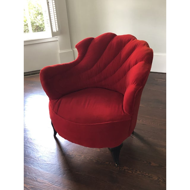 Ruby Red Vintage Scallop Chair With Red Velvet Fabric For Sale - Image 8 of 8