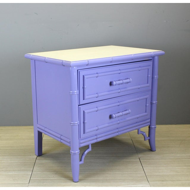 Mid century faux bamboo 2-drawers nightstand in a lovely lavender finish Minor wear, in restored condition Dimensions;...