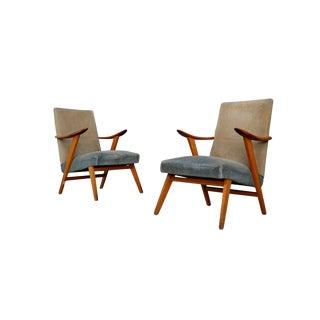 Pair of Midcentury Scandinavian Design in Cherrywood and Velvet, 1950s For Sale