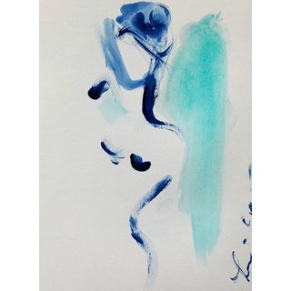 Figure in Turquoise and Indigo For Sale