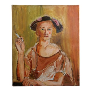 """Marcel Gromaire """"Woman Smoking a Cigarette"""" Double Sided Oil Painting C.1930s For Sale"""