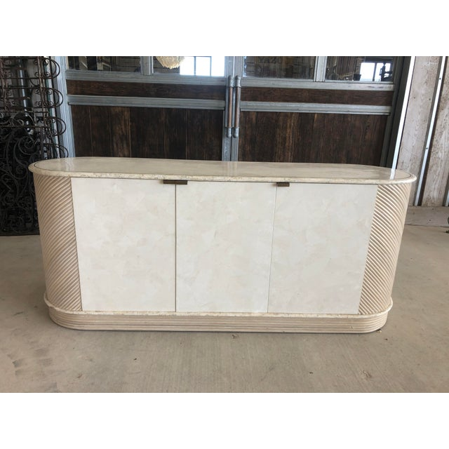 1980's Stone and Pencil Reed Credenza For Sale - Image 9 of 9