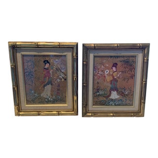 Mid-Century Chinoiserie Ink Paintings With Gold Gilt Bamboo Frames - a Pair For Sale