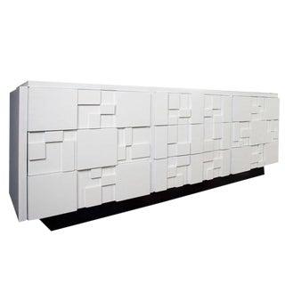 Lacquered Brutalist Credenza by Lane Furniture For Sale