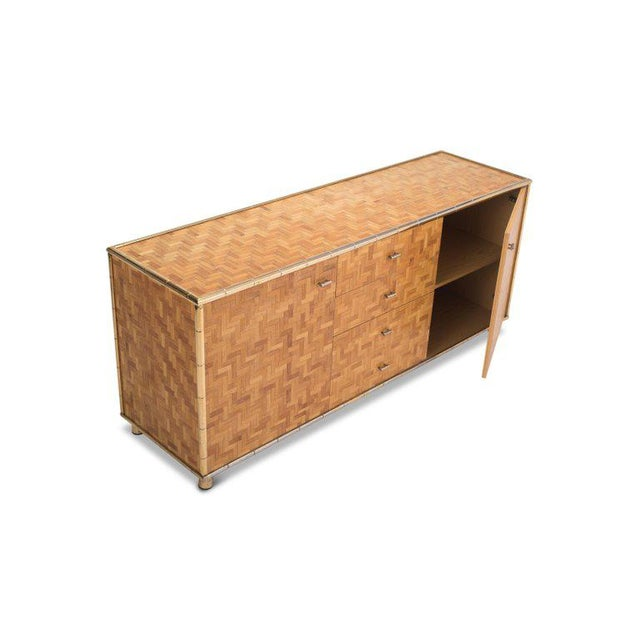 Metal Hollywood Regency Sideboard in Rattan and Bamboo, 1970s For Sale - Image 7 of 9
