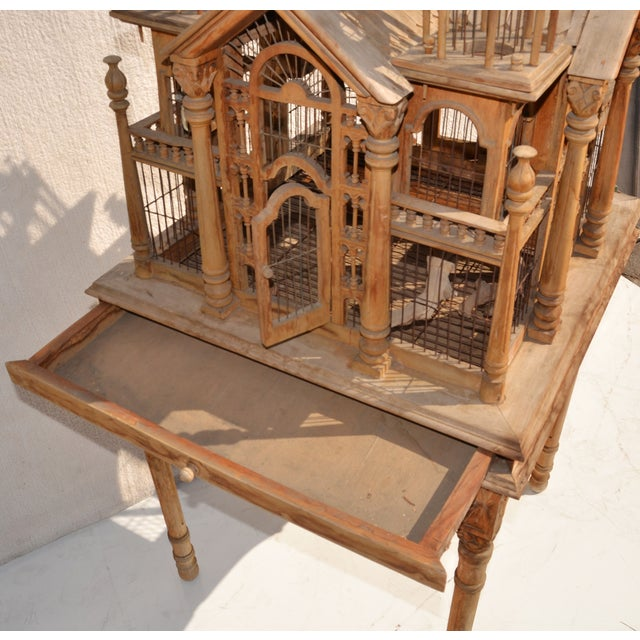 Victorian Wooden Bird Cage Palace On Floor Stand