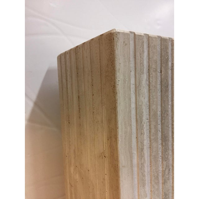 Vertical Cut Travertine Console Pedestal For Sale - Image 9 of 10