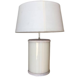 Paul Frankl Custom White Glass and Leather Table Lamp For Sale