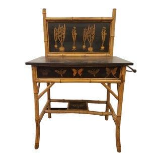 Boho Chic Decoupaged With Botanical Bulbs and Butterflies Bamboo Wash Stand With Marble Top For Sale