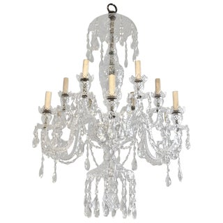 Early 20th Century Vintage English Cut Crystal Georgian Style Chandelier For Sale