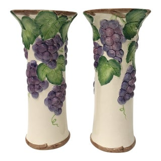 Fitz and Floyd Grape Arbor Vases - A Pair