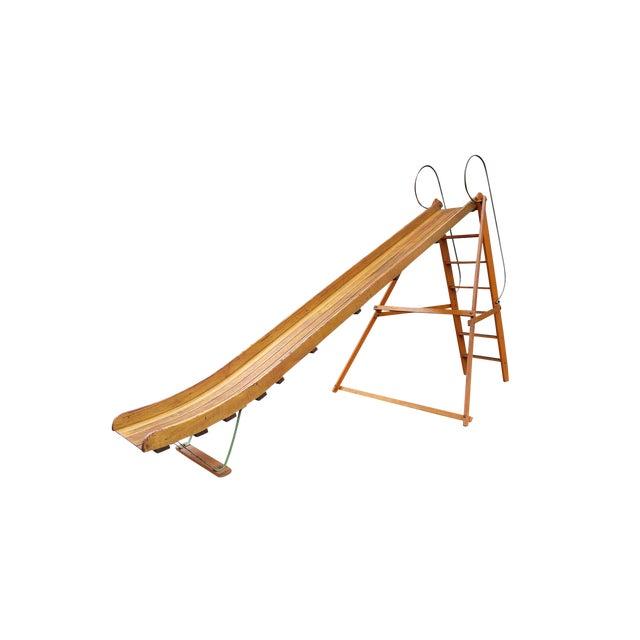 Vintage 1940s Bent Wood Playground Slide For Sale