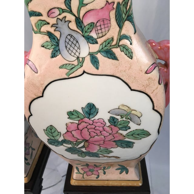 Pink With Floral Motif Chinoiserie Vintage Lamps - a Pair For Sale - Image 4 of 9