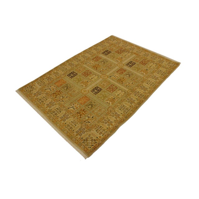 Asian Istanbul Jerri Tan/Gold Turkish Hand-Knotted Rug -4'1 X 6'0 For Sale - Image 3 of 8