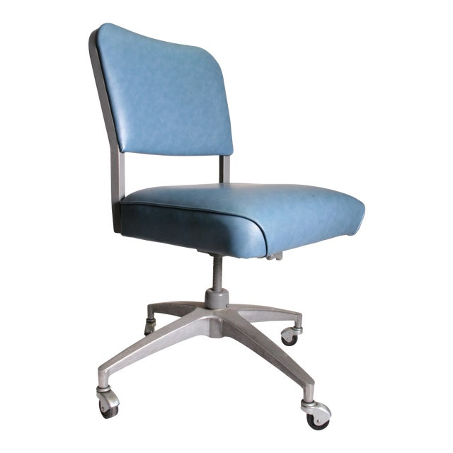 Mid Century Modern Blue Vinyl Swivel Office Chair - Image 1 of 11