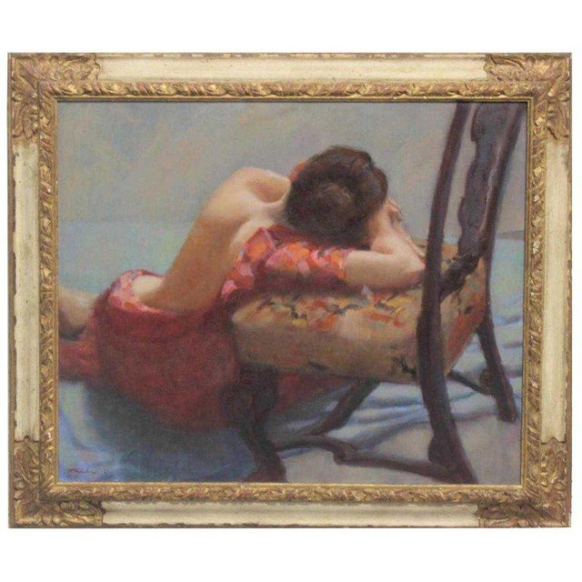"""Canvas American Oil on Canvas """"Repose"""" Signed J. Fairclough '61 For Sale - Image 7 of 7"""