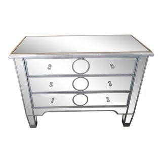 Contemporary Mirrored Wide Nightstand/Chest For Sale