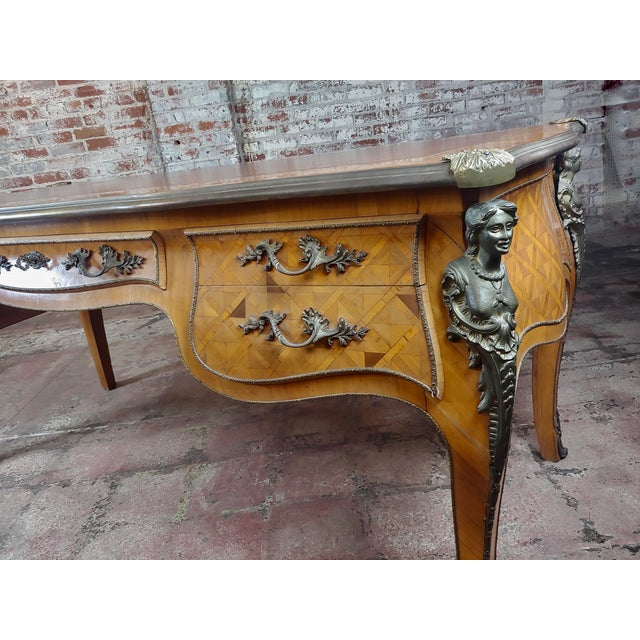 Louis XV Bureau Plat-Bronze Mounted, Inlaid Parquetry and Leather Top- Desk For Sale - Image 9 of 10