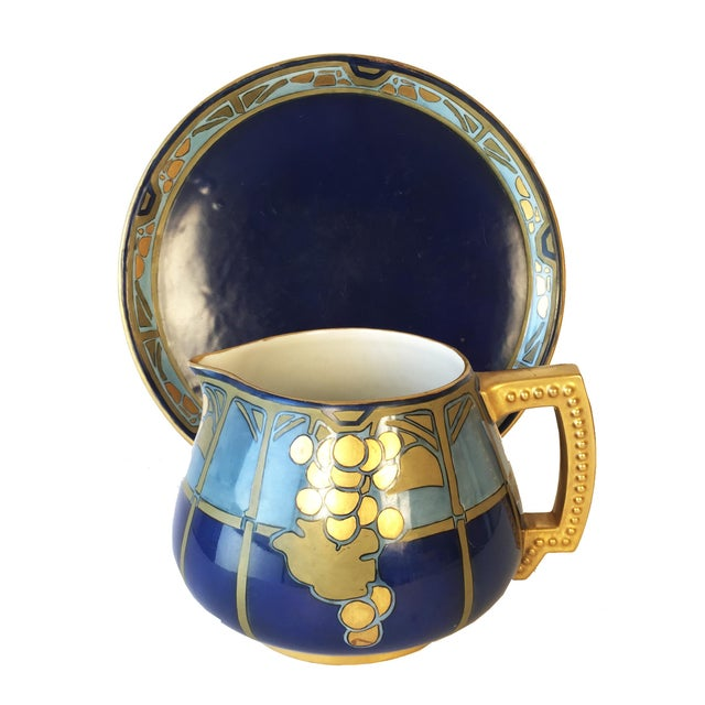 20th Century French Jean Pouyat Limoges Hand-Painted Pitcher and Tray - 2 Pieces For Sale - Image 12 of 12
