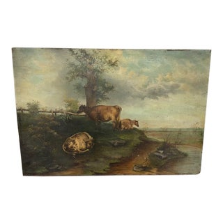 Early 20th Century Rural Landscape Oil Painting on Wooden Board For Sale