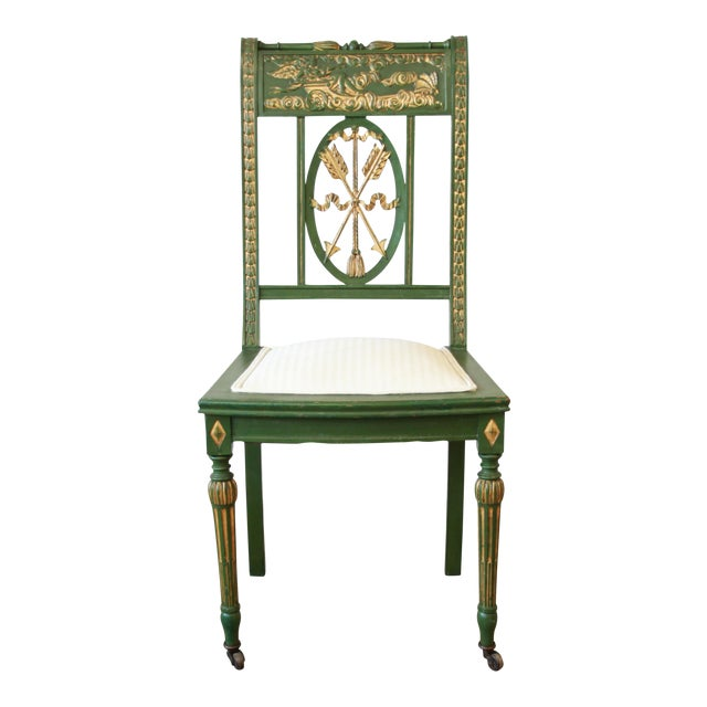 Antique Italian Hand-Carved & Painted Cherub Accent Chair For Sale