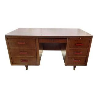 Mid Century Modern Large Wooden Industrial Tanker Desk For Sale