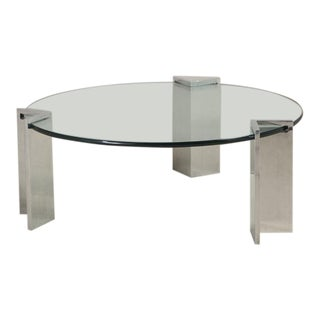 Steel and Glass Leon Rosen for Pace Coffee Table, 1970s For Sale