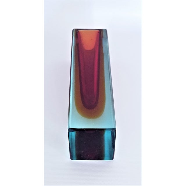 Blue 1970s Murano Blue Red and Yellow Glass Vase by Mandruzzato For Sale - Image 8 of 12