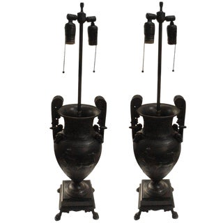 Pair of Empire Style Bronze Lamps For Sale