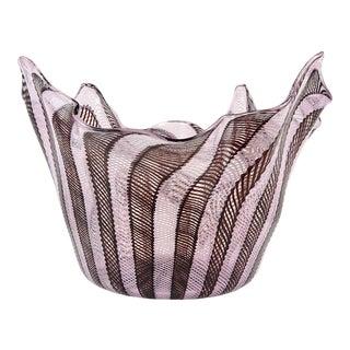 Fratelli Toso Murano Pink Black RibbonsItalian Art Glass Fazzoletto Vase For Sale