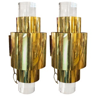 Pair of Mid-Century Modern Karl Springer Brass and Lucite Wall Sconces For Sale