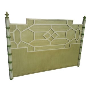 Asian Solid Wood Queen Geometric Pagoda Headboard For Sale