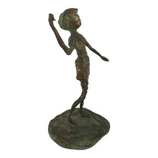 Vintage Brass Bronze Woman Girl Brutalist Sculpture by Malcolm Moran For Sale