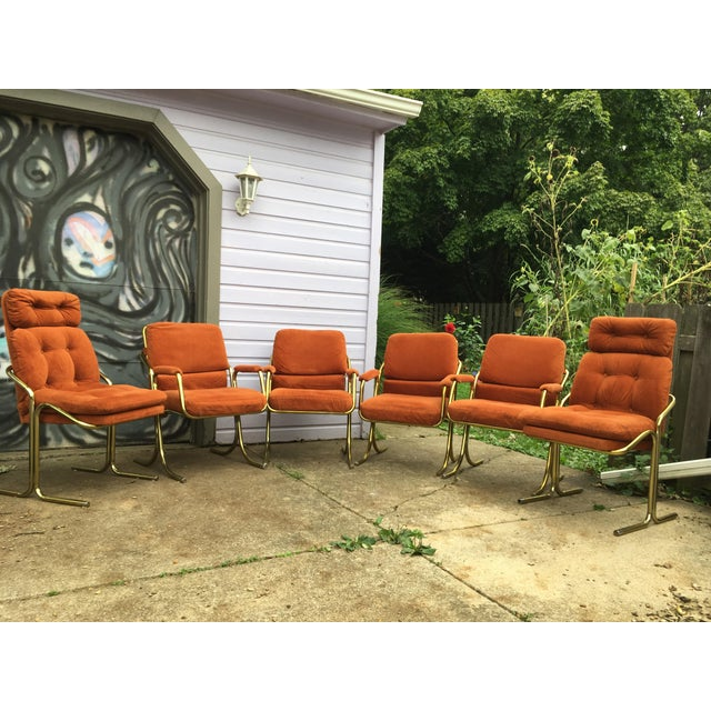Set Of Six Cal Style Chairs Upholstered In Burnt Orange Fabric Arm 2