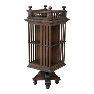 Antique English Revolving Bookcase For Sale