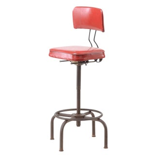 1950 Ajustrite Industrial Style Red Vinyl Stool For Sale
