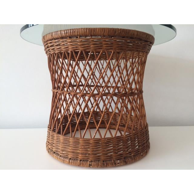 Vintage McGuire Rattan Round Side Table For Sale - Image 5 of 5
