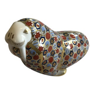 Vintage Royal Crown Derby Walrus Paperweight Figurine For Sale