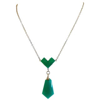 1920s Art Deco Green Glass Pendant Necklace For Sale