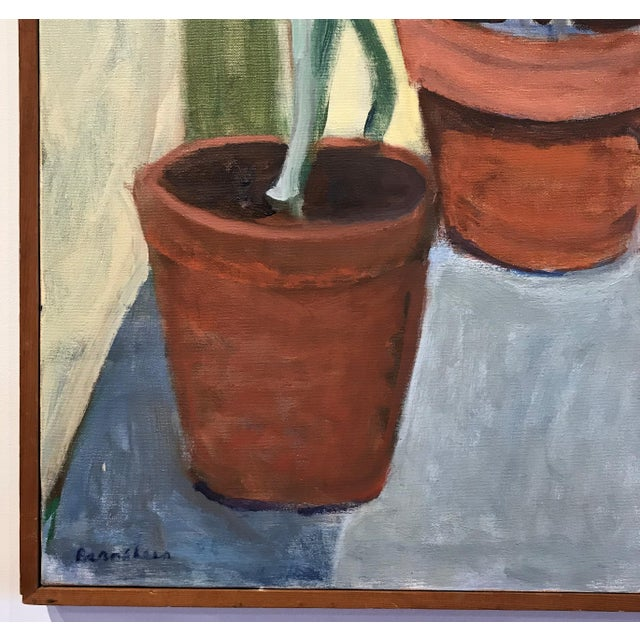 Large scale oil painting. Nice interior still life scene. Signed Bernstein. Most likely painted in the 1970s. Retains...