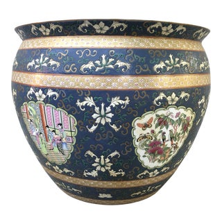 1960s Chinese Style Painted Planter Pot