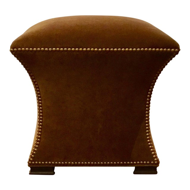 Modern Ambella Home Cinched Brown Velvet Hassock For Sale