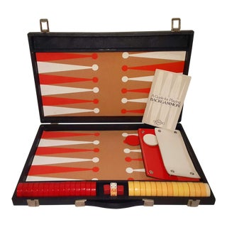 Vintage Backgammon Bakelite Set in Red & Yellow With Blue Case For Sale