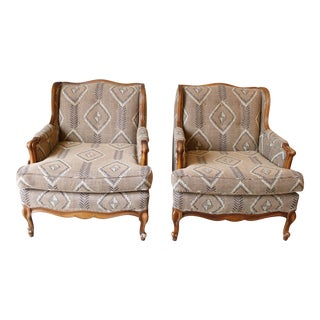 Mid-Century Reupholstered Armchairs - A Pair For Sale